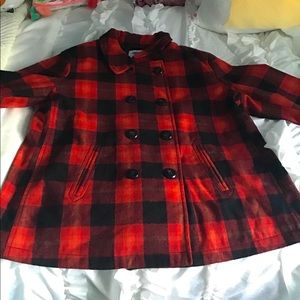 Old Navy Red Plaid Short Peacoat
